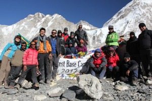 Bir Singh (standing right in the middle at the back) with his trekking team at Everest Base Camp, Nepal (I'm on the far left!)