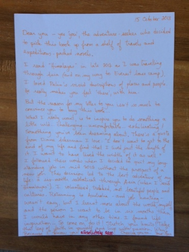 My letter to a stranger inserted in the book 'Himalayas' at an anonymous book store