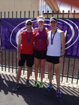 Happy marathon finishers (Hobart's Cadbury marathon, 12 Jan 2014)