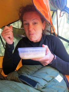 Here's a silly photo of me, taken after my first mouthful of a dehydrated cheesecake... Luxurious camping breakfast!